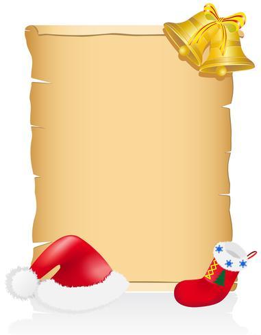 ilustração em vetor vintage natal pergaminho em branco