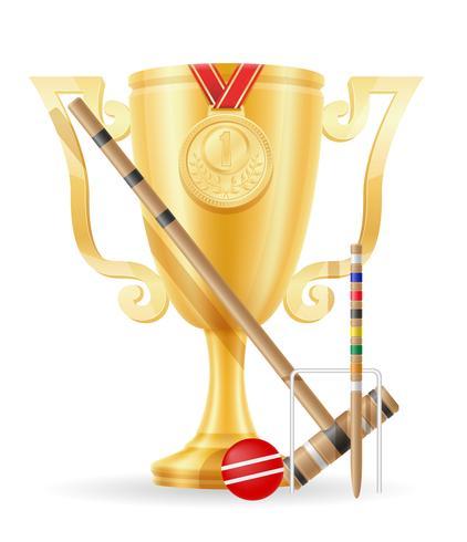 ilustração em vetor estoque ouro croquete Copa vencedor