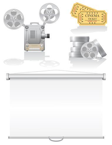 conjunto de ilustração em vetor ícones cinema