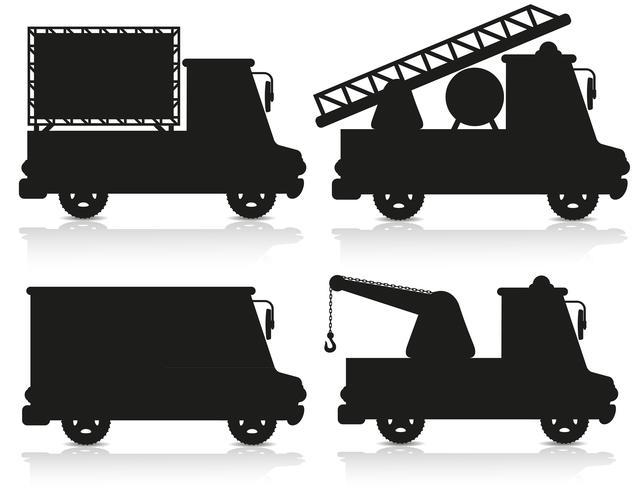 conjunto de ícones de carro ilustração em vetor silhueta negra