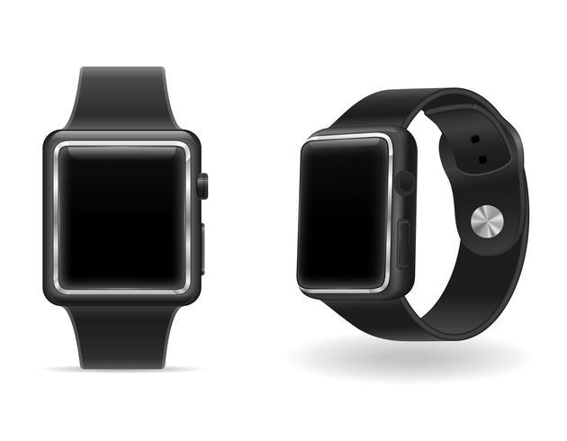 relógio digital inteligente com ilustração em vetor de estoque touchscreen