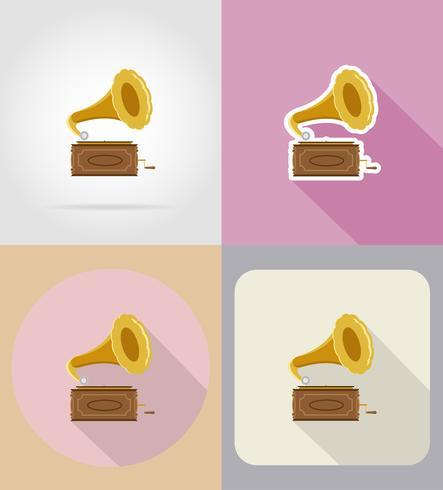 ilustração em vetor ícones plana velho gramofone retrô