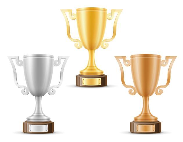 Copa vencedor ouro prata bronze estoque ilustração vetorial vetor