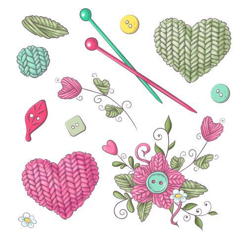 Um conjunto de roupas de malha clew agulhas de tricô. Desenho à mão. Ilustração vetorial vetor