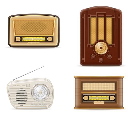 ilustração em vetor estoque rádio velho retrô vintage conjunto de ícones