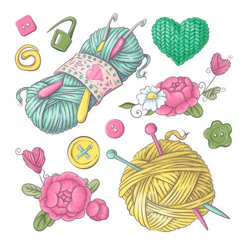 Conjunto para flores de malha artesanal e elementos e acessórios para crochê e tricô vetor