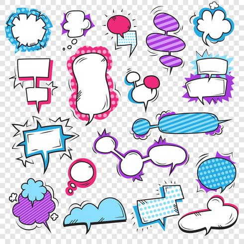 Conjunto de bolhas de Pop Art vetor