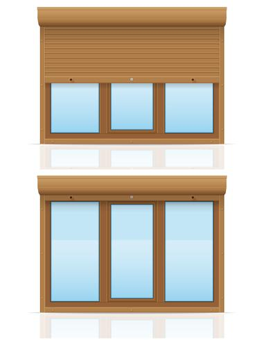 janela de plástico marrom com ilustração em vetor de obturadores de rolamento