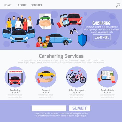 Layout de modelo de Web de serviço de compartilhamento de carro vetor