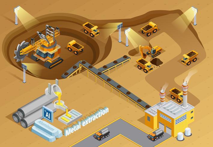 Ilustração isométrica de mineração vetor