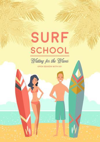 Cartaz da escola de surf vetor