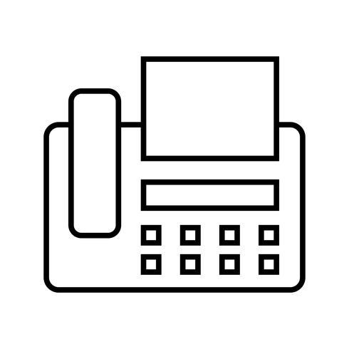 Fax, linha, pretas, ícone vetor