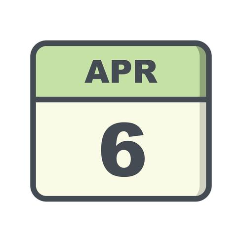 Data de 6 de abril em um calendário de dia único vetor