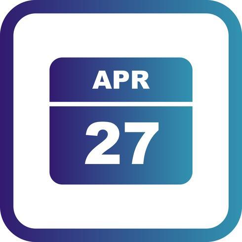 Data de 27 de abril em um calendário de dia único vetor