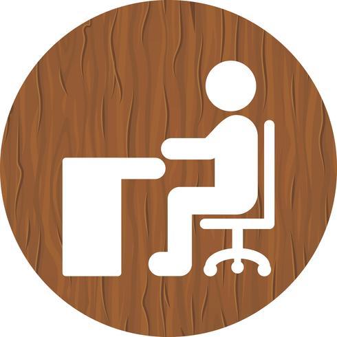 Sentado no design do ícone de mesa vetor