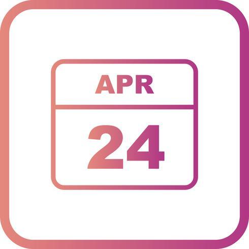 24 de abril Data em um calendário de dia único vetor