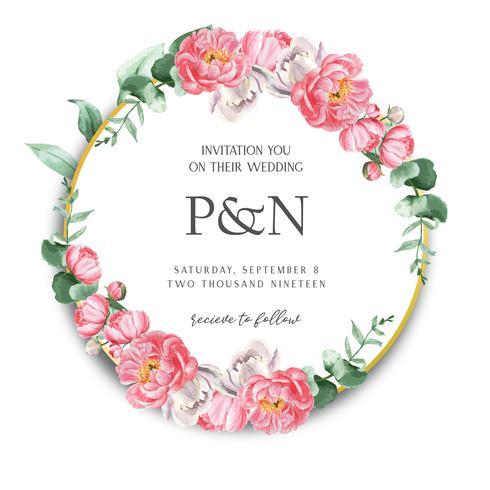 A peônia cor-de-rosa envolve flores da aquarela com texto, aquarelle floral isolado no fundo branco. Design de decoração para casamento de cartão, cartaz de convite, banner. vetor