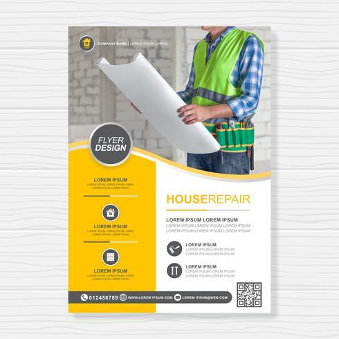Ferramentas de construção cobrem a4 modelo e ícones planas para um design de relatório e brochura, panfleto, banner, decoração de folhetos para impressão e apresentação de ilustração vetorial vetor
