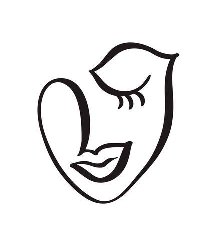 Linha contínua, desenho de rosto de mulher, moda conceito minimalista. Cabeça feminina linear estilizada com os olhos fechados, logotipo de cuidados da pele, ícone do salão de beleza. Vetorial, ilustração, uma linha vetor