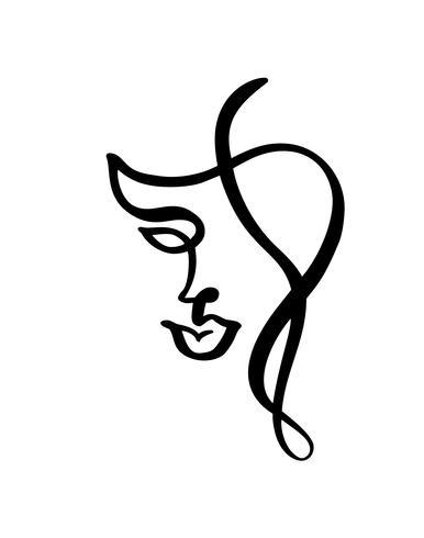 Linha contínua, desenho de rosto de mulher, moda conceito minimalista. Cabeça feminina linear estilizada com os olhos abertos, logotipo de cuidados da pele, ícone do salão de beleza. Vetorial, ilustração, uma linha vetor