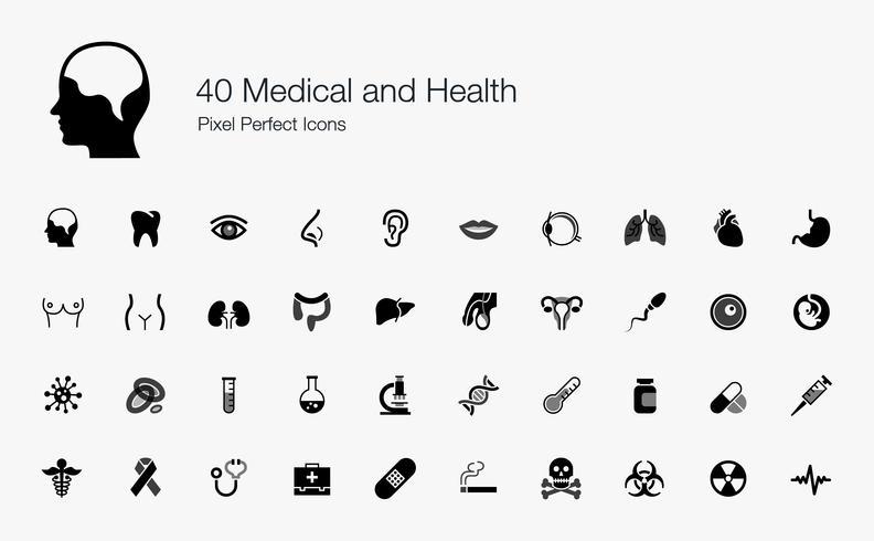 40 Médicos e Saúde Pixel Perfect Icons. vetor