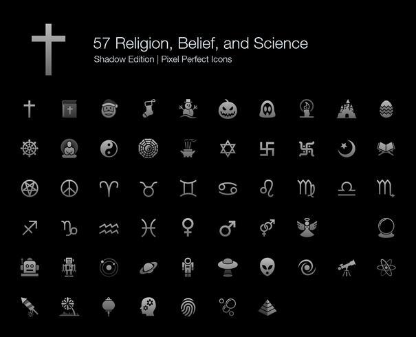 Religiões Crença Ciência Pixel Perfect Icons Shadow Edition. vetor