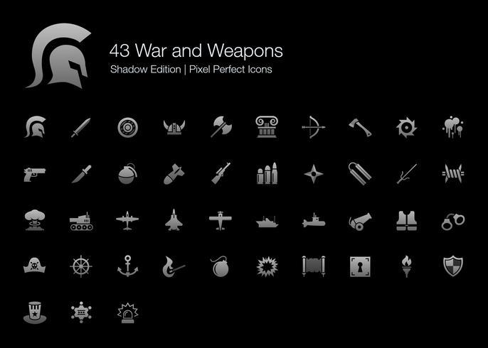 Guerra e Armas Pixel Perfect Icons Shadow Edition. vetor