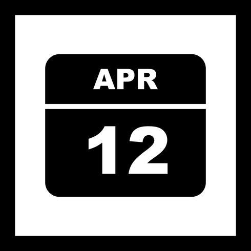 Data de 12 de abril em um calendário de dia único vetor
