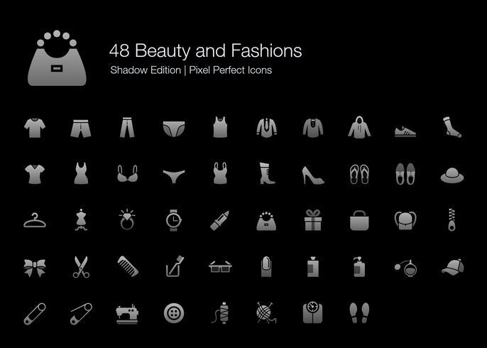 Beleza e Modas Pixel Perfect Icons Shadow Edition. vetor