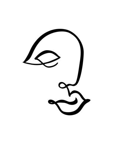 Linha contínua, desenho de rosto de mulher, moda conceito minimalista. Cabeça feminina linear estilizada com os olhos fechados, logotipo de cuidados da pele, ícone do salão de beleza. Ilustração vetorial vetor
