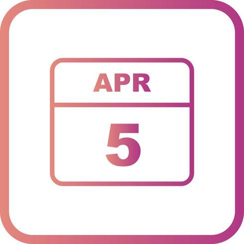 Data de 5 de abril em um calendário de dia único vetor