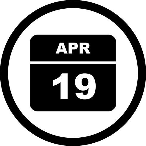 19 de abril Data em um calendário único dia vetor
