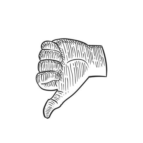 Mão, polegar baixo, mão, desenho, doodle, chocar, ilustração vintage, ícone, símbolo vetor