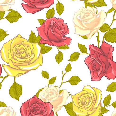 Padrão sem emenda de rosa, padrão sem emenda de flor, padrão sem emenda floral de vetor