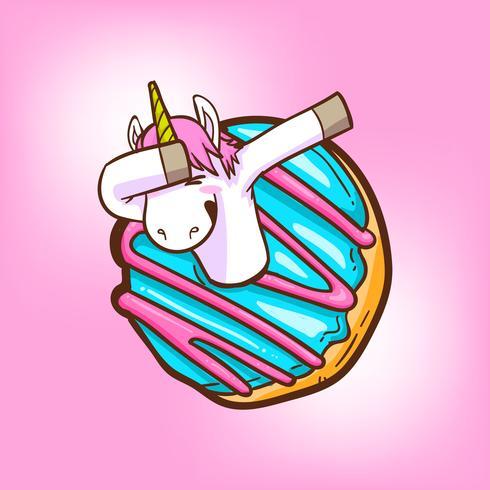 unicórnio fofo e donuts vetor