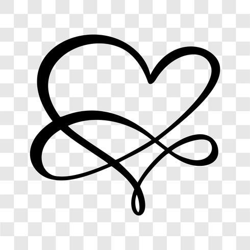 Coração amor assinar para sempre. Logotipo do símbolo isolado de casamento romântico de infinito. Ilustração vetorial para camiseta, cartão, cartaz. Elemento plano de design do dia dos namorados vetor
