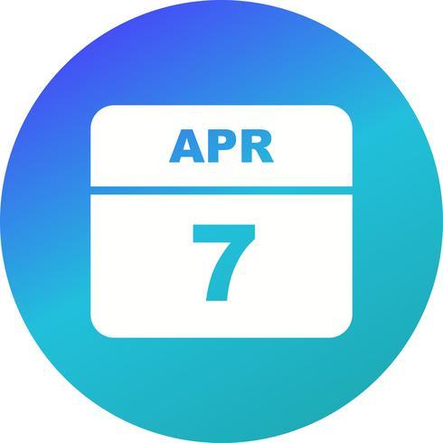 7 de abril Data em um calendário de dia único vetor