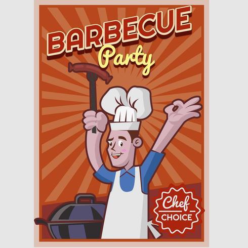 Cartaz retro do BBQ vetor