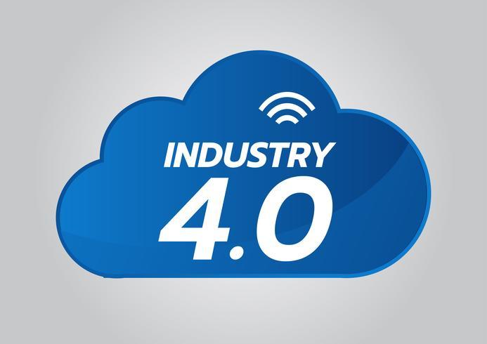 Conceito 4.0 industrial, ícone esperto do vetor da fábrica. Ilustração de planta de Wi Fi. Tecnologia Industrial da Internet das Coisas (IoT).