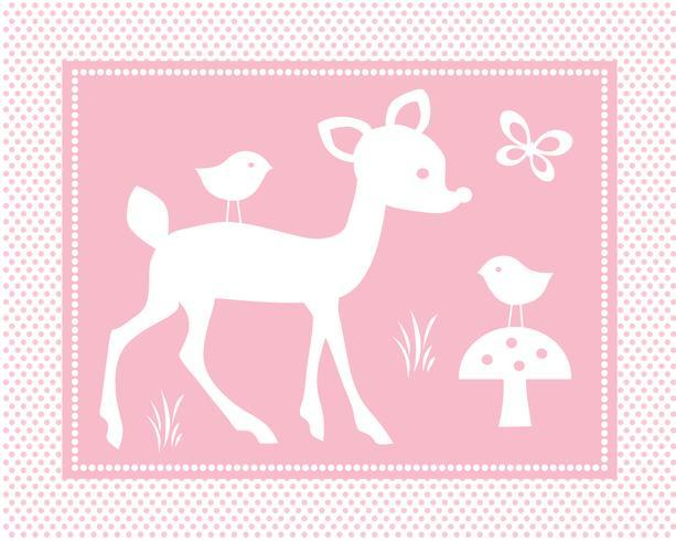 cena de veado bonito com aves em fundo rosa polka dot vetor