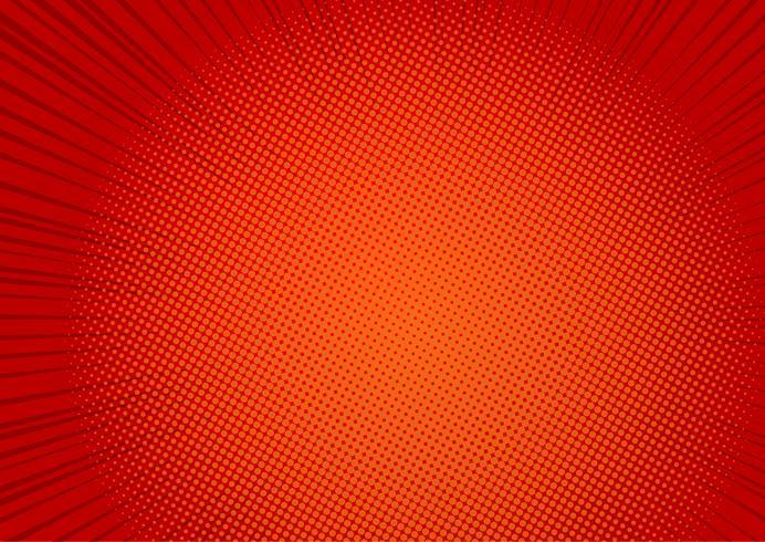 Fundo vermelho pop art, ilustração de raios cômico retrô linha velocidade - Vector