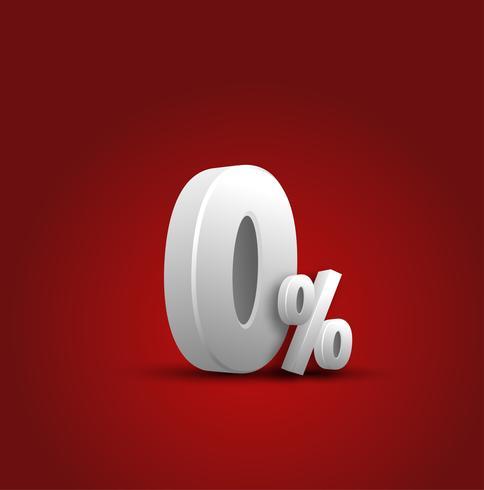 3d sinal sobre fundo vermelho, desconto especial Tag, 0% de desconto, Banner, publicidade, distintivo, emblema, ícone da Web vetor
