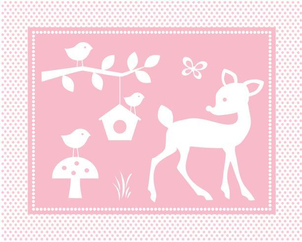 cena de veado bonito com pássaros e gaiola em fundo rosa polka dot vetor