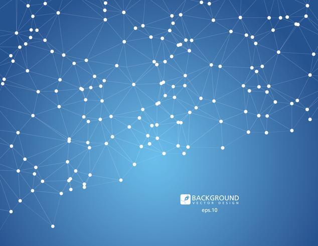 Fundo escuro poligonal abstrato baixo poli de espaço com pontos e linhas de conexão. Estrutura de conexão. vetor
