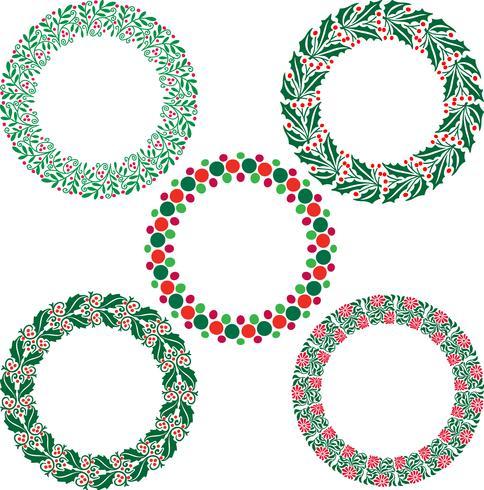 Quadros de grinalda de Natal vetor