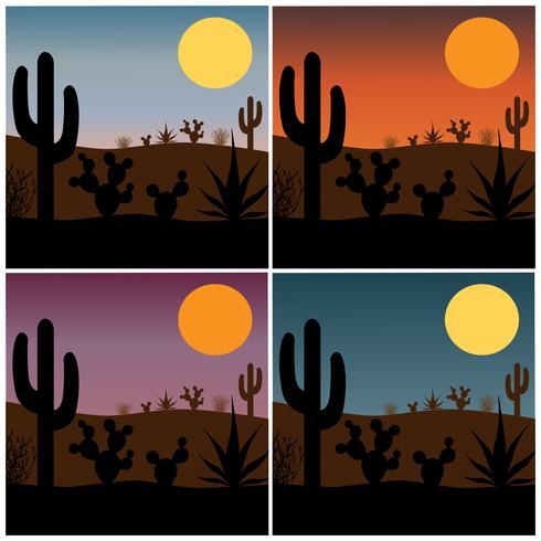 silhueta de cacto do deserto com origens do sol gradiente vetor