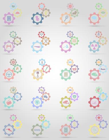 conjunto de ícones informações mecanismo de engrenagem conceito ilustração vetorial vetor