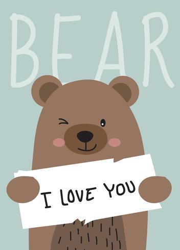 Personagem de desenho animado bonito urso vetor