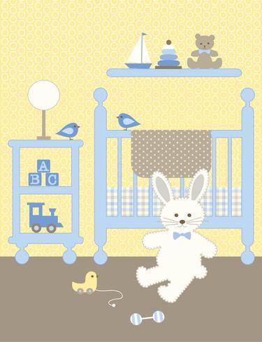 gráfico bonito do berçário do coelho com berço e brinquedos vetor