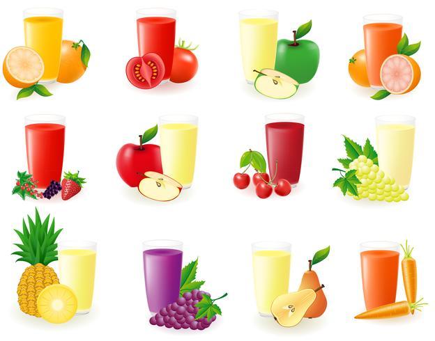 conjunto de ícones com ilustração vetorial de suco de fruta vetor